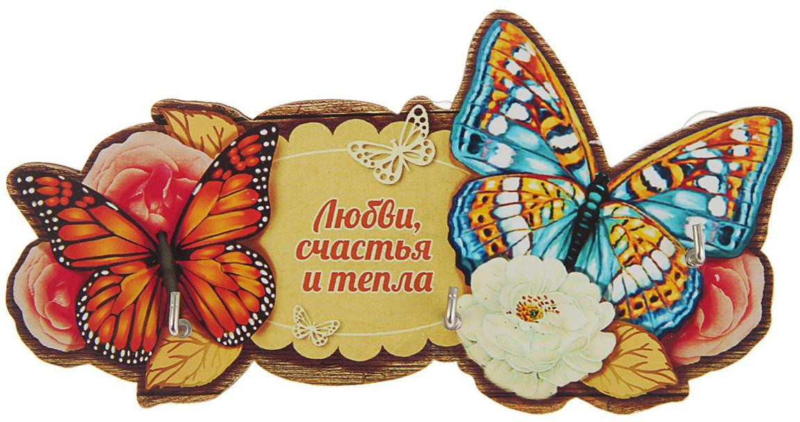 Ключница Любви, счастья и тепла, цвет: мультиколор2394953Полезные домашние мелочи не только делают нашу жизнь комфортнее, но и преображают интерьер любого помещения. Чтобы ваши ключи не терялись, а вы всегда знали, где они находятся, поможет Ключница Любви, счастья и тепла.Изделие выполнено в эксклюзивном дизайне из дерева с нанесением красочного принта. Такой предмет интерьера, несомненно, станет «изюминкой» вашего дома. На основе ключницы находятся металлические крючки, а само изделие легко монтируется на стену.Украсьте свой дом красивыми и функциональными мелочами!