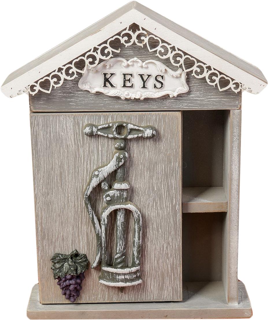 Ключница Штопор для вина, дерево, 4 крючка, с полочкой, 26,5 х 19 х 6,5 см2528332Постоянно теряете ключи, когда куда-то торопитесь? Тогда этот товар — именно то, что вам нужно! Каковы его достоинства? Экономия времени на поиск ключей, ведь вам больше не придётся их терять. Комфортное хранение ещё и других важных мелочей, которые любят пропадать. Порядок и сохранность ваших вещей. Это незаменимый помощник и стильный предмет декора прихожей. Ключница — полезная вещь, которая позволяет поддерживать порядок в доме.Ключница — полезная вещь, которая позволяет поддерживать порядок в доме.