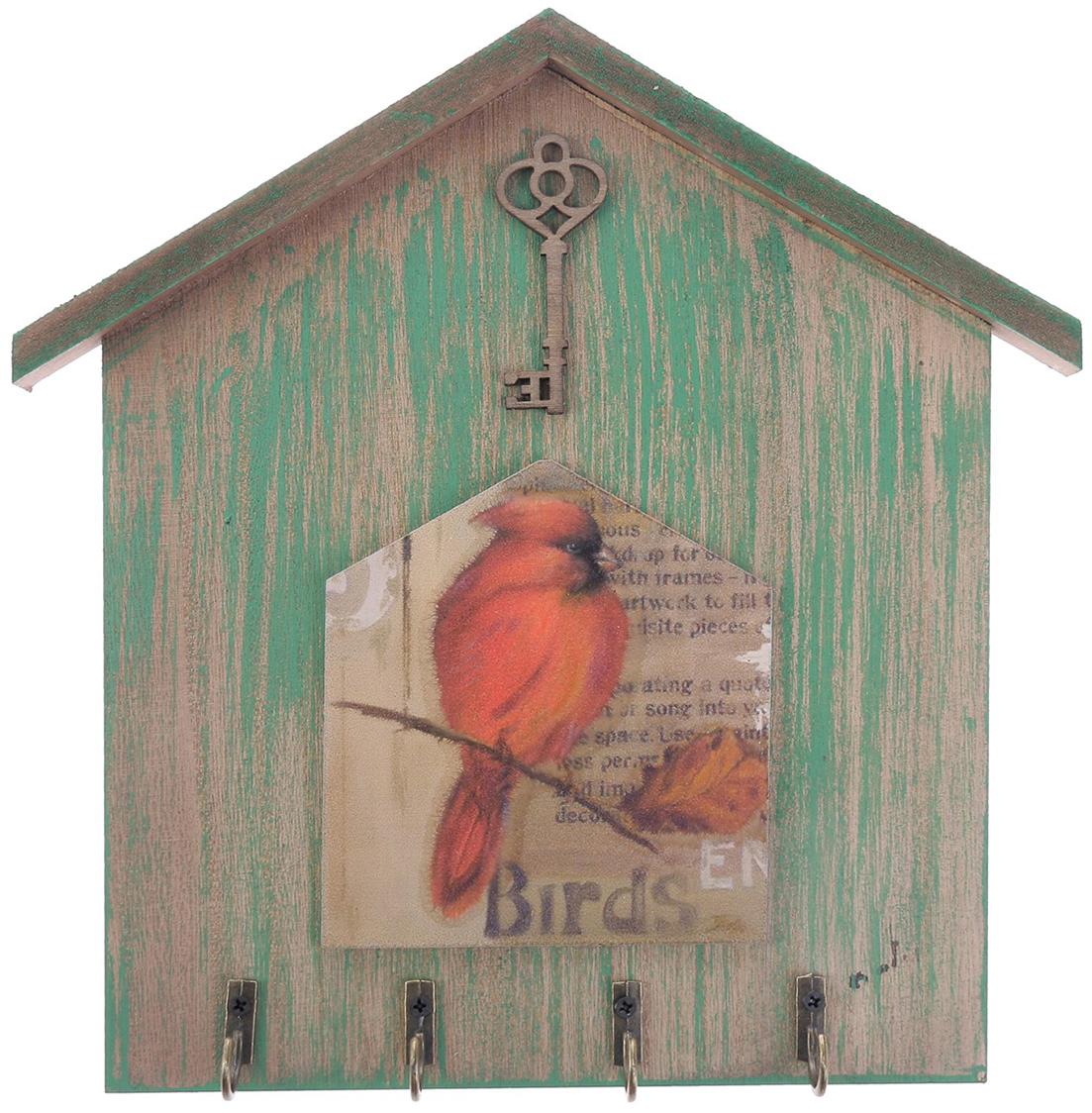 Крючки декоративные Птица - Красный кардинал, дерево, 24,3 х 24,5 х 2,5 см2541137Постоянно теряете ключи, когда куда-то торопитесь? Тогда этот товар — именно то, что вам нужно! Каковы его достоинства?Экономия времени на поиск ключей, ведь вам больше не придётся их терять.Комфортное хранение ещё и других важных мелочей, которые любят пропадать.Порядок и сохранность ваших вещей.Это незаменимый помощник и стильный предмет декора прихожей.Ключница — полезная вещь, которая позволяет поддерживать порядок в доме.