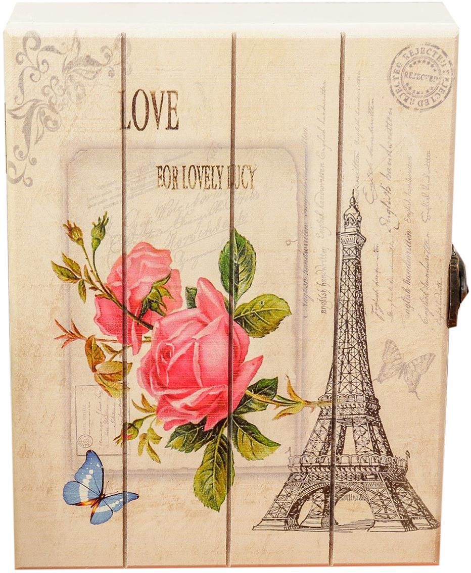 Ключница Эйфелева башня. Розовые розы, дерево, 4 крючка, 20 х 15,5 х 5 см
