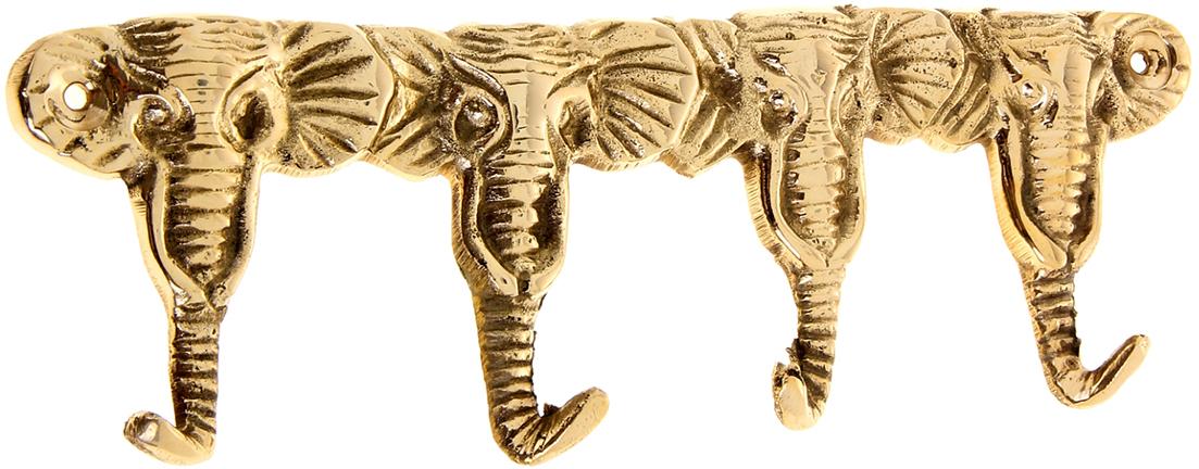 Крючок Слоны, цвет: золотой699765Индусы чтят порядок в доме, чтобы всё всегда лежало на своих местах, и в то же время было под рукой. Крючок Слоны как раз тот предмет домашнего обихода, который всегда пригодится в хозяйстве. Он выполнен из латуни - материала, который ценится в загадочной Индии своими свойствами: прочностью, ковкостью, твёрдостью и высокой коррозионной стойкостью. Поэтому Вы можете не беспокоиться за сохранность этого удивительно оригинального крючка, если расположите его в ванной комнате или на даче в предбаннике. Такими помощниками хочется завешать все стены, двери и прочее. Необычный дизайн, прочность, многофункциональность и экзотическое происхождение ручной работы, все это подкупает с первого взгляда. С таким аксессуаром все Ваши ключи, полотенца, кружки, ложки-поварёшки и многое другое будут прибраны и находиться на самом видном месте.