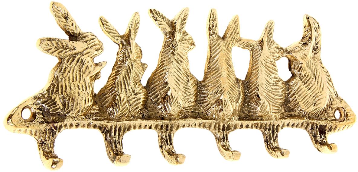 Крючок Зайцы, цвет: золотой699768Индусы чтят порядок в доме, чтобы всё всегда лежало на своих местах, и в то же время было подрукой. Крючок Зайцы как раз тот предмет домашнего обихода, который всегда пригодится вхозяйстве. Он выполнен из латуни - материала, который ценится в загадочной Индии своимисвойствами: прочностью, ковкостью, твёрдостью и высокой коррозионной стойкостью. ПоэтомуВы можете не беспокоиться за сохранность этого удивительно оригинального крючка, еслирасположите его в ванной комнате или на даче в предбаннике. Такими помощниками хочется завешать все стены, двери и прочее. Необычный дизайн,прочность, многофункциональность и экзотическое происхождение ручной работы, все этоподкупает с первого взгляда. С таким аксессуаром все ваши ключи, полотенца, кружки, ложки- поварёшки и многое другое будут прибраны и находиться на самом видном месте.