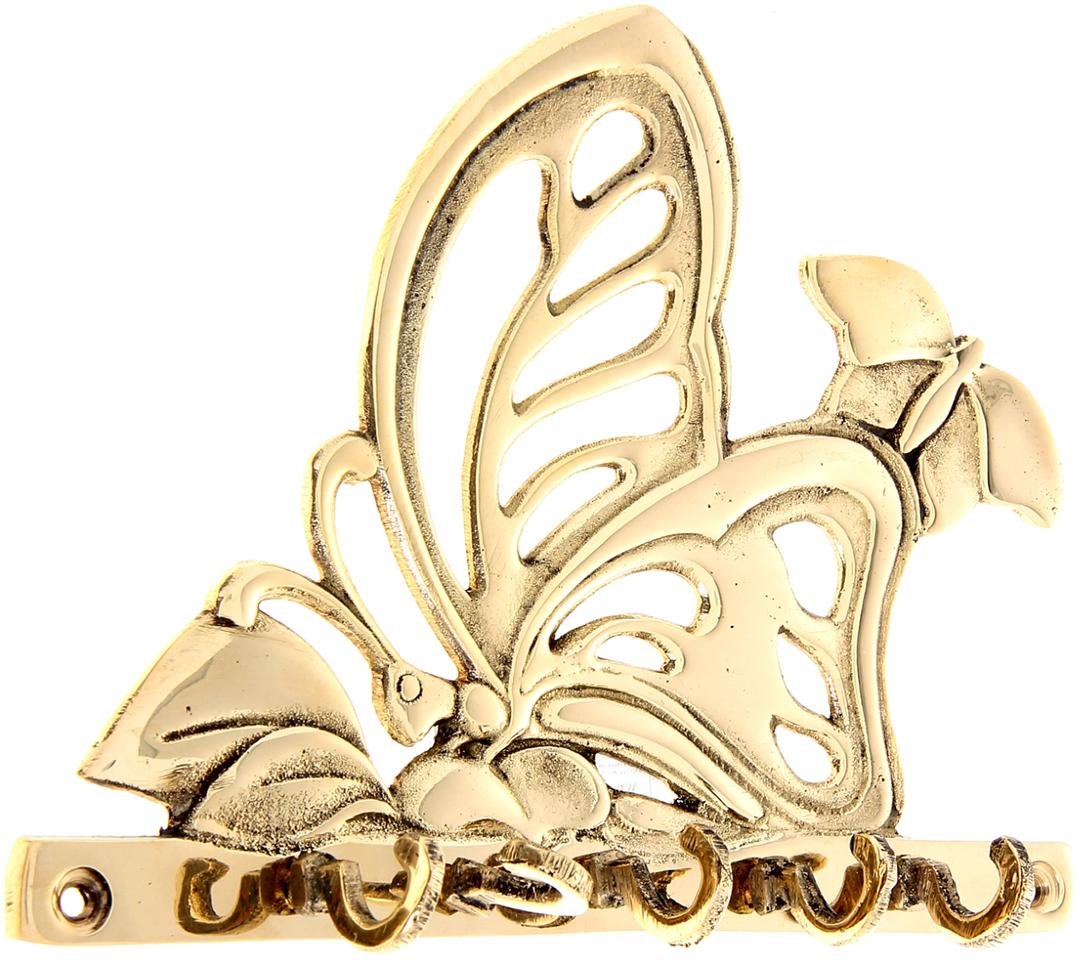 Крючок Бабочки, цвет: золотой699816Индусы чтят порядок в доме, чтобы всё всегда лежало на своих местах, и в то же время было под рукой. Крючок Бабочки как раз тот предмет домашнего обихода, который всегда пригодится в хозяйстве. Он выполнен из латуни - материала, который ценится в загадочной Индии своими свойствами: прочностью, ковкостью, твёрдостью и высокой коррозионной стойкостью. Поэтому Вы можете не беспокоиться за сохранность этого удивительно оригинального крючка, если расположите его в ванной комнате или на даче в предбаннике. Такими помощниками хочется завешать все стены, двери и прочее. Необычный дизайн, прочность, многофункциональность и экзотическое происхождение ручной работы, все это подкупает с первого взгляда. С таким аксессуаром все Ваши ключи, полотенца, кружки, ложки-поварёшки и многое другое будут прибраны и находиться на самом видном месте.