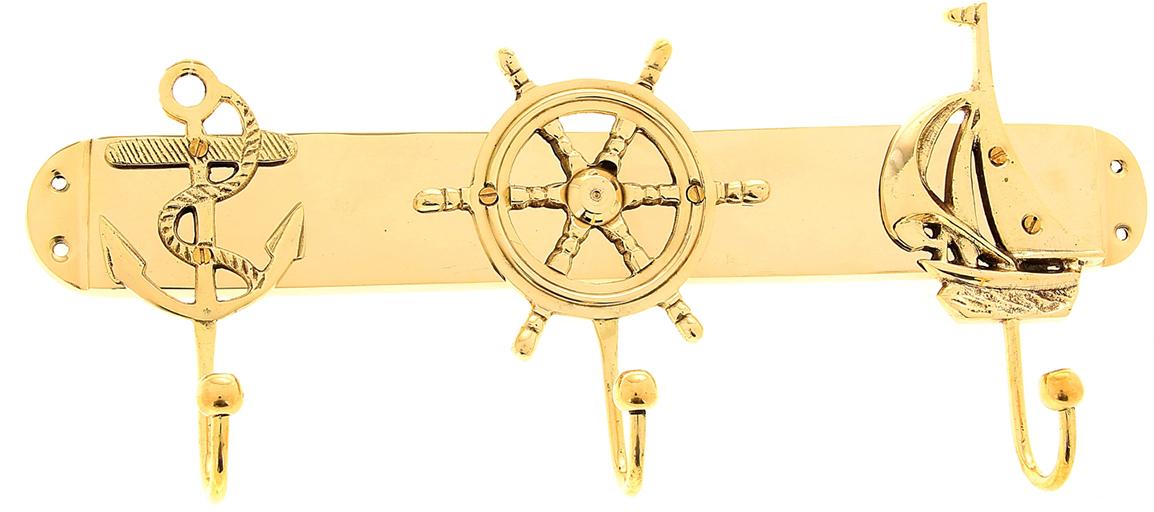 Крючок Трио, цвет: золотой839034Милый Крючок Трио, выполненный из латуни вручную индийскими мастерами-ремесленниками. Такой крючок станет отличным помощником, на него можно повесить ключи, полотенце, одежду и другие важные вещицы.