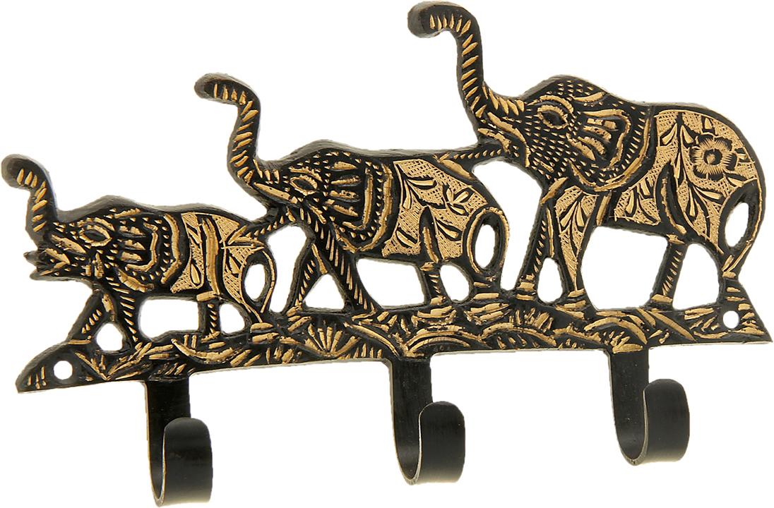 Крючок Три слона, цвет: медь, цвет: медь841212Милый Крючок Три слона, выполненный из латуни вручную индийскими мастерами-ремесленниками. Такой крючок станет отличным помощником, на него можно повесить ключи, полотенце, одежду и другие важные вещицы.