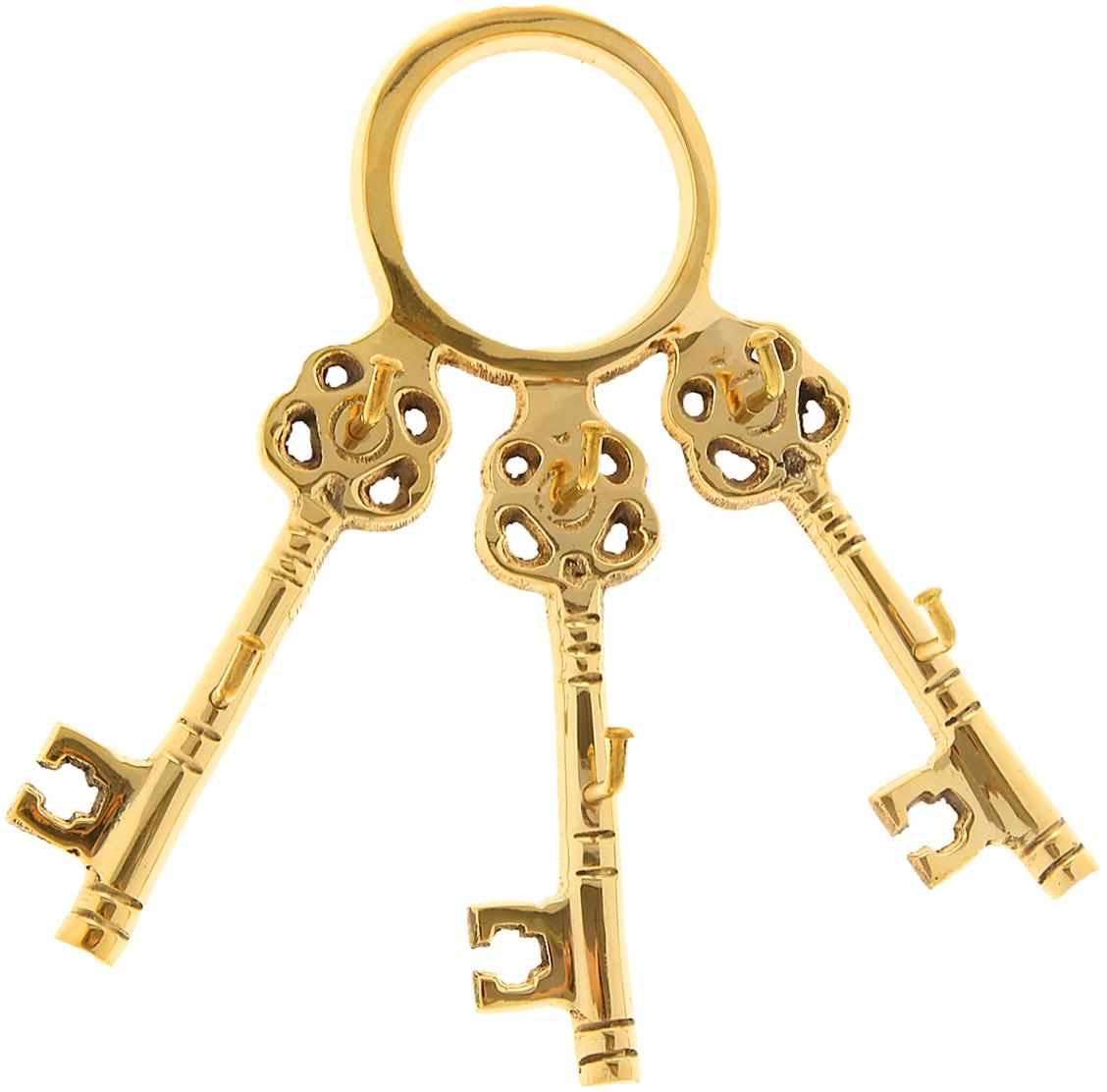 Крючок Три ключа, цвет: золотой841233Милый Крючок Три ключа, выполненный из латуни вручную индийскими мастерами-ремесленниками. Такой крючок станет отличным помощником, на него можно повесить ключи, полотенце, одежду и другие важные вещицы.