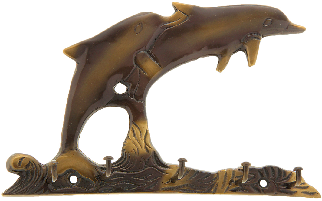 Крючок Дельфины на волне, 5 крючков841244Милый Крючок Дельфины на волне (5 крючков), выполненный из латуни вручную индийскими мастерами-ремесленниками. Такой крючок станет отличным помощником, на него можно повесить ключи, полотенце, одежду и другие важные вещицы.