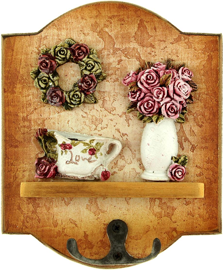 Крючки декоративные Венок из роз, цвет: коричневый, мультиколор843029Если вы привыкли к тому, чтобы в доме царил порядок, и каждая вещь находилась на предназначенном ей месте, то наверняка оцените такие простые и удобные аксессуары, как крючки. На них можно повесить самые разные мелочи: от ключей до прихватки. Они порадуют своим дизайном и практичностью. Постоянно теряете ключи, когда куда-то торопитесь? Тогда этот товар — именно то, что вам нужно! Каковы его достоинства? Экономия времени на поиск ключей, ведь вам больше не придётся их терять. Комфортное хранение ещё и других важных мелочей, которые любят пропадать. Порядок и сохранность ваших вещей. Это незаменимый помощник и стильный предмет декора прихожей. Ключница — полезная вещь, которая позволяет поддерживать порядок в доме.
