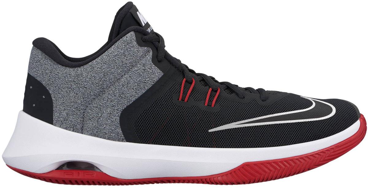 Кроссовки для баскетбола мужские Nike Air Versitile II Basketball Shoe, цвет: черный, серый, красный. 921692-002. Размер 7,5 (39,5)921692-002Мужские баскетбольные кроссовки Nike Air Versatile II созданы для универсальных игроков, которым в первую очередь нужны комфорт, фиксация и амортизация. Нити Flywire стабилизируют среднюю часть стопы, а область пятки из первоклассного ультрамягкого текстиля с подкладкой из пеноматериала обеспечивает фиксацию. Видимая вставка Air-Sole обеспечивает легкость и амортизацию. Нити Flywire для стабилизации и фиксации. Превосходный текстильный материал создает ощущение невероятной мягкости и комфорта в области пятки. Улучшенная резиновая подметка с зигзагообразным рисунком обеспечивает надежное сцепление.