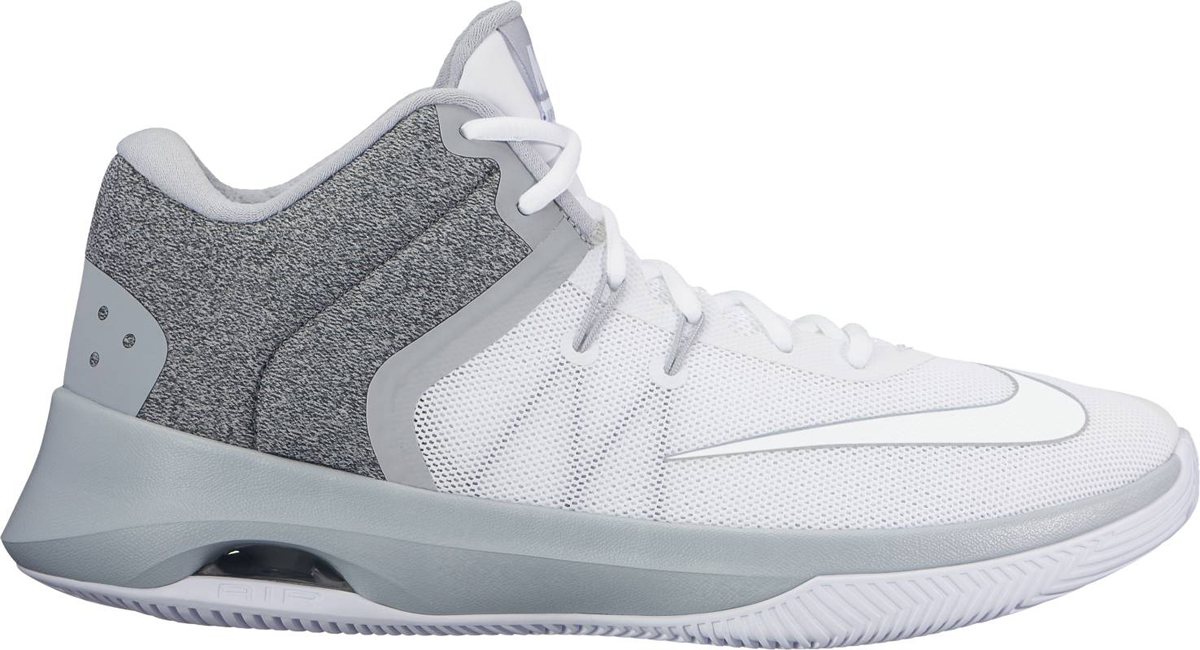 Кроссовки для баскетбола мужские Nike Air Versitile II Basketball Shoe, цвет: серый, белый. 921692-101. Размер 8,5 (41)921692-101Мужские баскетбольные кроссовки Nike Air Versatile II созданы для универсальных игроков, которым в первую очередь нужны комфорт, фиксация и амортизация. Нити Flywire стабилизируют среднюю часть стопы, а область пятки из первоклассного ультрамягкого текстиля с подкладкой из пеноматериала обеспечивает фиксацию. Видимая вставка Air-Sole обеспечивает легкость и амортизацию. Нити Flywire для стабилизации и фиксации. Превосходный текстильный материал создает ощущение невероятной мягкости и комфорта в области пятки. Улучшенная резиновая подметка с зигзагообразным рисунком обеспечивает надежное сцепление.