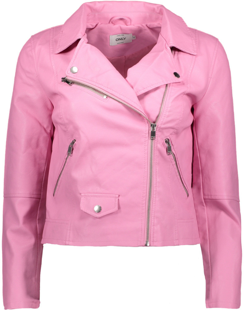 Куртка женская Only, цвет: розовый. 15144751_Begonia Pink. Размер 38 (44)15144751_Begonia PinkСтильная женская куртка Only выполнена из искусственной кожи с текстильной подкладкой. Укороченная модель прямого кроя с отложным воротником застегивается на молнию с внутренней ветрозащитной планкой и дополнена двумя прорезными карманами на молниях.