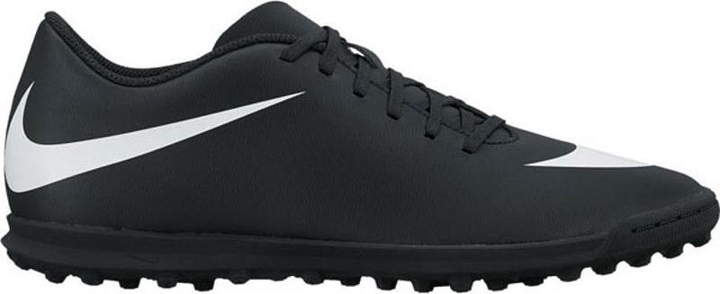 Кроссовки для футзала мужские Nike BravataX II (TF) , цвет: черный, белый. 844437-001. Размер 9 (41,5)844437-001Мужские футбольные бутсы для игры на газоне BravataX II (TF) от Nike оптимизируют скорость без ущерба для контроля над мячом. Разнонаправленные шипы помогают быстро развивать скорость, а микрорельеф верха повышает сцепление для большего контроля над мячом. Верх из синтетической кожи для прочности и превосходного касания. Поверхность верха с микротекстурой обеспечивает превосходный контроль мяча на высокой скорости. Асимметричная шнуровка увеличивает площадь контроля над мячом. Контурная стелька обеспечивает низкопрофильную амортизацию, снижая давление от шипов. Прочная резиновая подметка гарантирует отличное сцепление при игре в помещении.