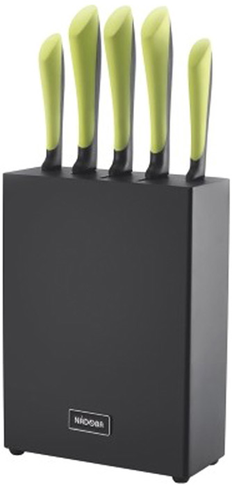 Набор ножей Jana, на подставке, цвет: стальной, черный, зеленый, 6 предметов723117Набор ножей Jana - будет достойной покупкой. Яркий дизайн и функциональностьданного набора не оставят вас равнодушными.Набор включает: нож для овощей, 9 см, нож универсальный, 12 см, ножСантоку, 17,5 см, нож разделочный, 20 см, нож поварской, 20 см, блок дляножей из натурального прочного дерева (гевея), покрытый стойкой натуральной краской.
