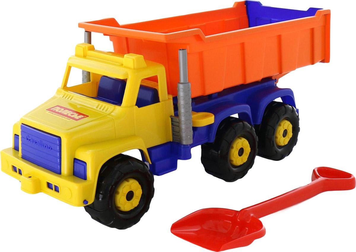 Полесье Самосвал Супергигант + лопата большая цвет оранжевый синий самосвал полесье премиум красный желтый синий 6607