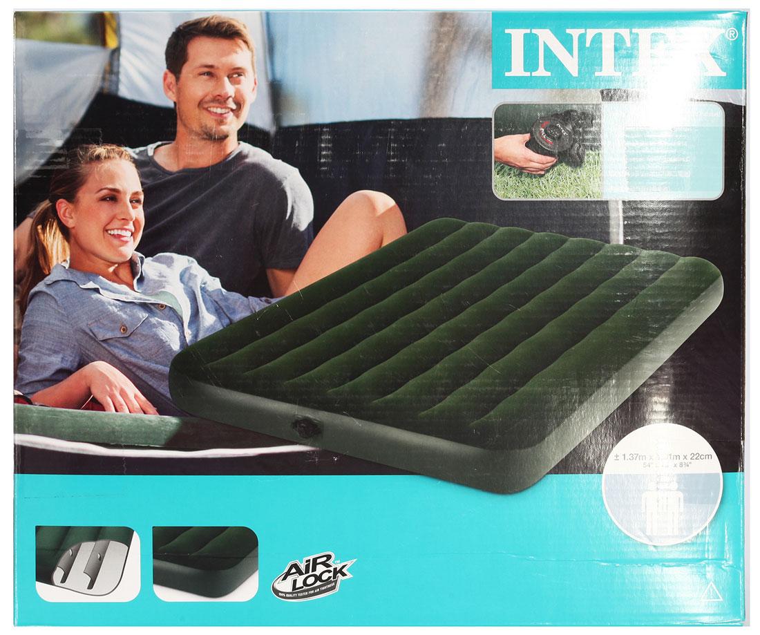 "Матраc надувной Intex ""Prestige Downy Full"", цвет: зеленый, 137 х 191 х 22 см. 66968"
