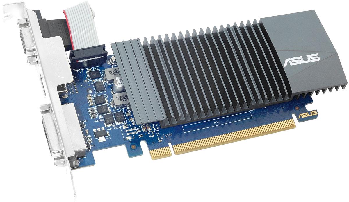 ASUS GeForce GT 710 Low Profile 1GB видеокарта (GT710-SL-1GD5)GT710-SL-1GD5ASUS GeForce GT 710 Low Profile - это видеокарта начального уровня, оснащенная пассивной (без использования вентиляторов) системой охлаждения, что делает ее идеальным выбором для бесшумных мультимедийных компьютеров. В устройстве применены эксклюзивные технологии ASUS, направленные на повышение стабильности работы, а для гибкой настройки его параметров предлагается удобная утилита GPU Tweak II.Радиатор с большой площадью рассеивания тепла справляется с охлаждением видеокарты без применения вентиляторов. Данное устройство является абсолютно бесшумным, что делает его идеальным выбором для домашних мультимедийных компьютеров.Высокому качеству готового устройства способствует полностью автоматизированный процесс производства (технология Auto-Extreme), который соответствует более строгим экологическим нормам за счет устранения вредных химических веществ и уменьшения энергопотребления на 50%.Современные видеокарты ASUS совместимы с эксклюзивной утилитой GPU Tweak II, с помощью которой можно получить полный контроль над графической подсистемой компьютера. Например, новая функция Gaming Booster позволяет моментально выделить все доступные вычислительные ресурсы под 3D-приложение, чтобы обеспечить максимальную производительность.
