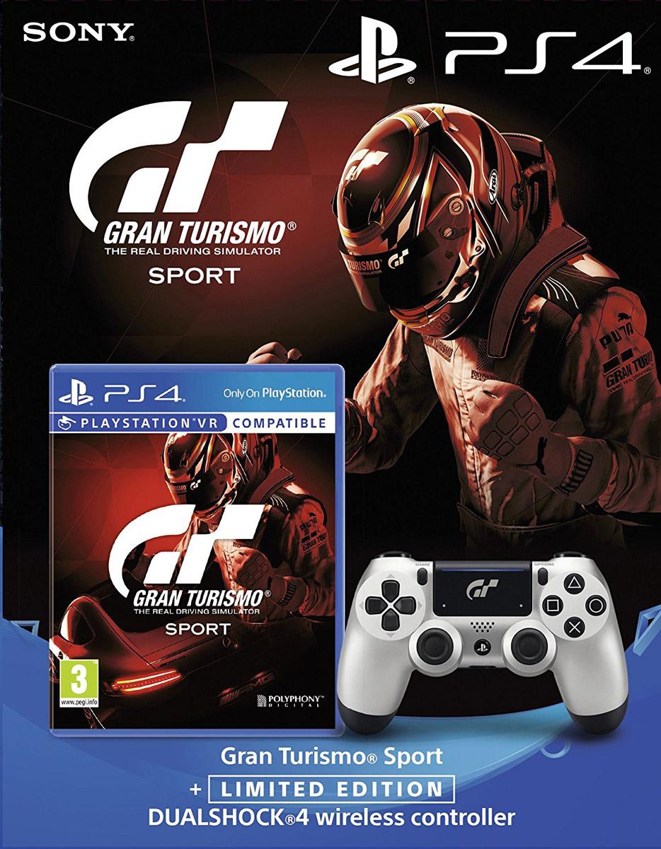 Sony Dualshock 4 GT Sport контроллер для PS4 + игра PS4 Gran Turismo Sport (поддержка VR)1CSC20003323Беспроводной контроллер Sony DualShock 4 в комплекте с игрой Gran Turismo Sport. Контроллер оснащен подсветкой тачпада, совпадающей по цвету с подсветкой тыльной стороны контроллера. Это дает геймерам новый источник информации, например, о том, за какого персонажа они играют или о его уровне здоровья.Кроме того, новый DualShock 4 поддерживает возможность подключения через USB в дополнение к уже имеющейся возможности подключения с помощью Bluethooth, что позволяет пользователям осуществлять управление через кабель.Встроенный емкостный тачпад определяет 2 точки касания. Сенсоры движения представлены шестиосевой системой отслеживания движений (трехосевой гироскоп, трехосевой акселерометр). Ограниченное издание GT Sport.Управляйте самыми быстрыми автомобилями мира с помощью этого контроллера ограниченной серии, доступного отдельно или в комплекте с игрой GT Sport.