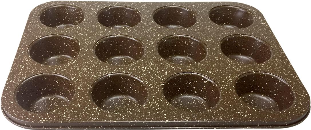 Формы для кексов Moulinvilla Маффин, на 12 шт, 35,4 х 27 х 3 смВBWM-012Долговечное, устойчивое к повреждениям, износостойкое; Легко моется, готовит без масла, равномерно распределяет тепло; Форма выполнена из утолщенной углеродистой стали 0,4 мм с ребрами жесткости, благодаря чему меньше подвержена деформации и имеет длительный срок службы; Можно мыть в посудомоечной машине.