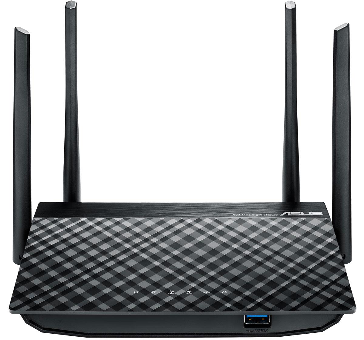 ASUS RT-AC58U маршрутизаторRT-AC58UASUS RT-AC58U – это современный двухдиапазонный беспроводной маршрутизатор. Поддержка стандарта 802.11ac означает увеличенную скорость передачи данных по сети Wi-Fi, а благодаря разъему USB 3.0 к маршрутизатору можно подключить 3G/4G-модемы, принтеры и внешние накопители, чтобы расширить функциональность устройства.Большой объем встроенной памяти (128 МБ) и технология MU-MIMO позволяют подключать к маршрутизатору по беспроводной сети Wi-Fi сразу несколько клиентских устройств одновременно на максимальной поддерживаемой ими скорости.Благодаря новейшему четырехъядерному процессору класса Cortex-A7 маршрутизатор RT-AC58U поддерживает высокую скорость передачи данных между внешним и локальными проводными портами.Широкая зона охватаЧетыре внешние антенны с коэффициентом усиления 5 дБи обеспечат стабильный сигнал с широкой зоной охвата в пределах всего дома.RT-AC58U оснащается портом USB 3.0, пропускная способность которого в 10 раз превышает возможности интерфейса USB 2.0. Подключив к нему USB-совместимое устройство, можно легко превратить данный маршрутизатор в файл-, принт- или 3G/4G-сервер.AiCloud – это специальная платформа для хранения данных, объединяющая домашнюю сеть и облачные сервисы. Доступ к данным осуществляется посредством мобильного приложения, предлагаемого для iOS- и Android-устройств, либо через веб-браузер. AiCloud предлагает целый ряд удобных функций по работе с файлами, например возможность моментальной публикации фотографий в сервисах Facebook, Flickr и Dropbox.