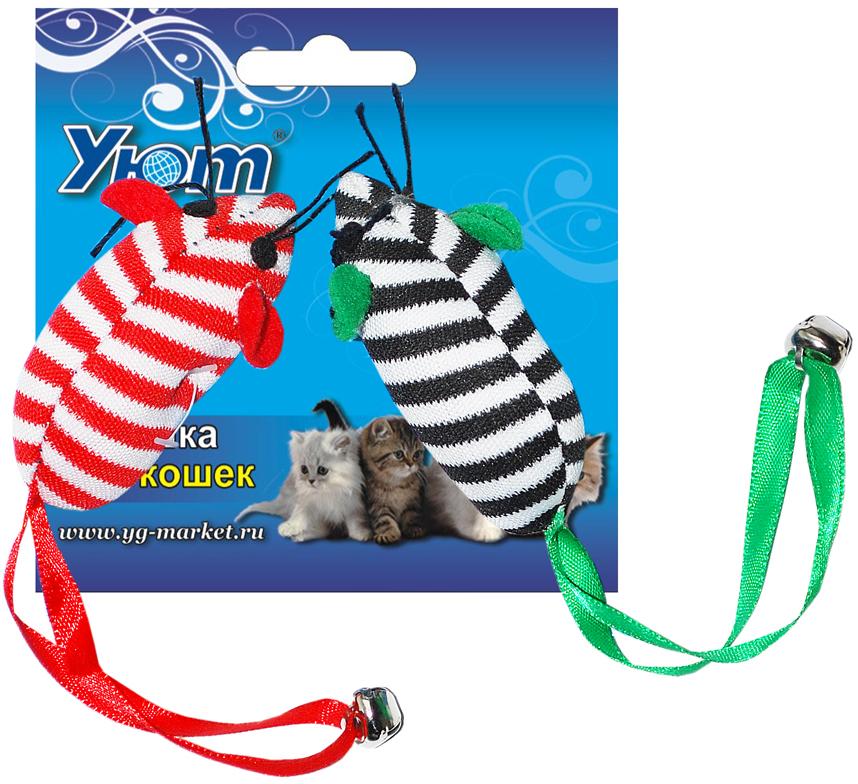 Игрушка для кошек Уют Мышь, 8 см, 2 штИУ48/2штИгрушки для кошки. Две тканевых мышки.