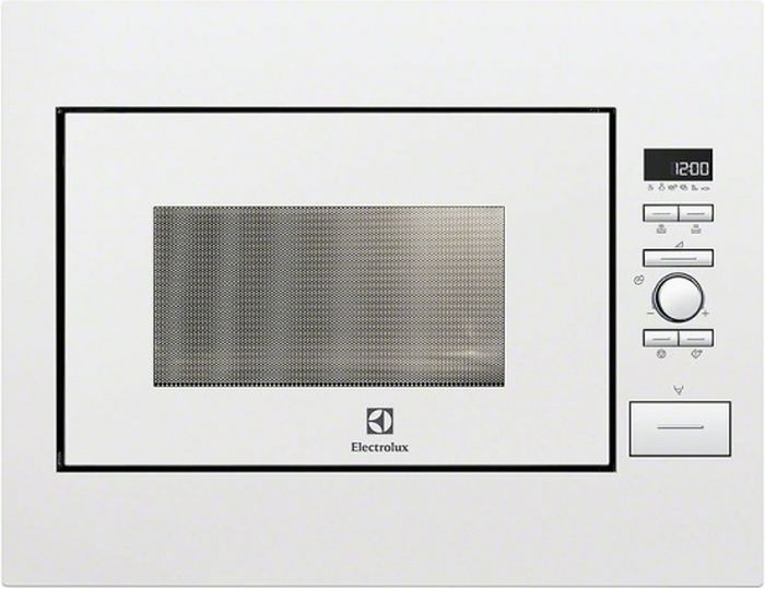 Electrolux EMS 26004OW, White СВЧ-печь встраиваемаяEMS26004OWсоло (без гриля и конвекции), объем 26 л, мощность 900 Вт, электронное упр, автомат режимы: разморозка, приготовление, ШxВxГ: 59.4x45.9x41.7, цвет: белый