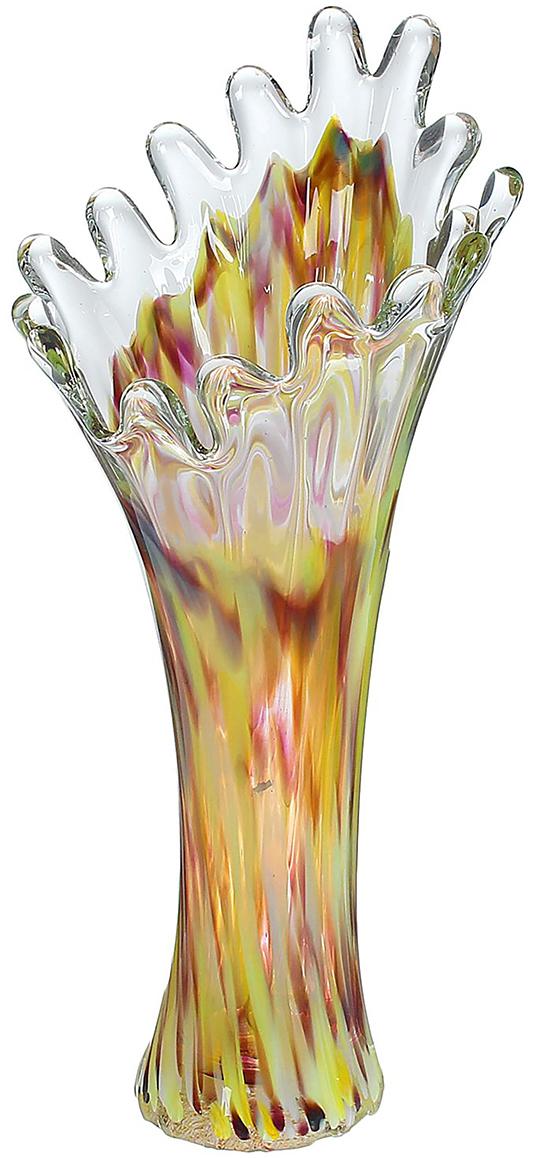 Ваза Коралл, цвет: желтый, 28 см1025280Ваза - не просто сосуд для букета, а украшение убранства. Поставьте в неё цветы или декоративные веточки, и эффектный интерьерный акцент готов! Стеклянный аксессуар добавит помещению лёгкости. Ваза Коралл осенняя преобразит пространство и как самостоятельный элемент декора. Наполните интерьер уютом! Каждая ваза выдувается мастером. Второй точно такой же не встретить. А случайный пузырёк воздуха или застывшая стеклянная капелька на горлышке лишь подчёркивают её уникальность.