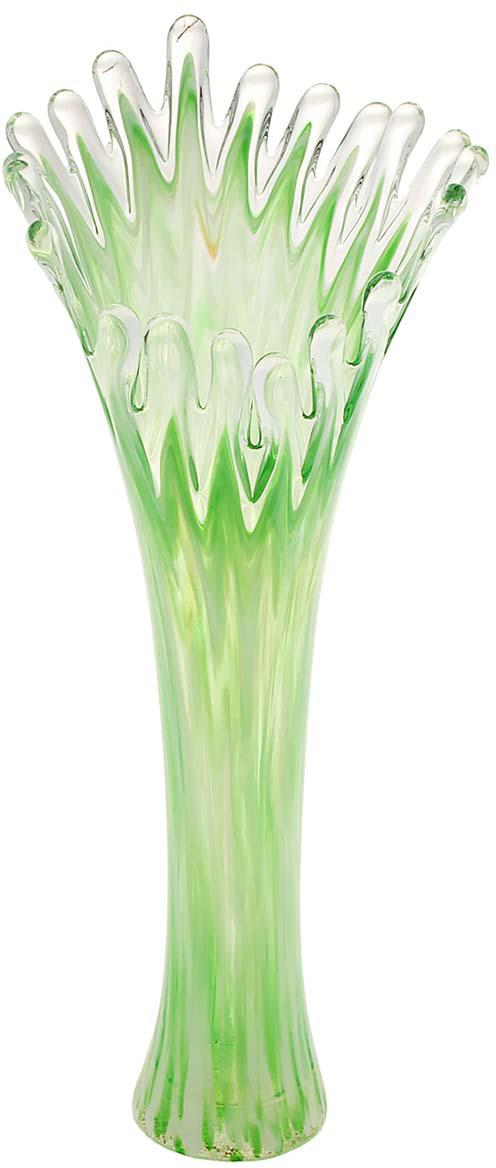 Ваза Коралл, цвет: зеленый, 38 см. 10252841025284Ваза - не просто сосуд для букета, а украшение убранства. Поставьте в неё цветы или декоративные веточки, и эффектный интерьерный акцент готов! Стеклянный аксессуар добавит помещению лёгкости.Ваза Коралл зелёная преобразит пространство и как самостоятельный элемент декора. Наполните интерьер уютом!Каждая ваза выдувается мастером. Второй точно такой же не встретить. А случайный пузырёк воздуха или застывшая стеклянная капелька на горлышке лишь подчёркивают её уникальность.