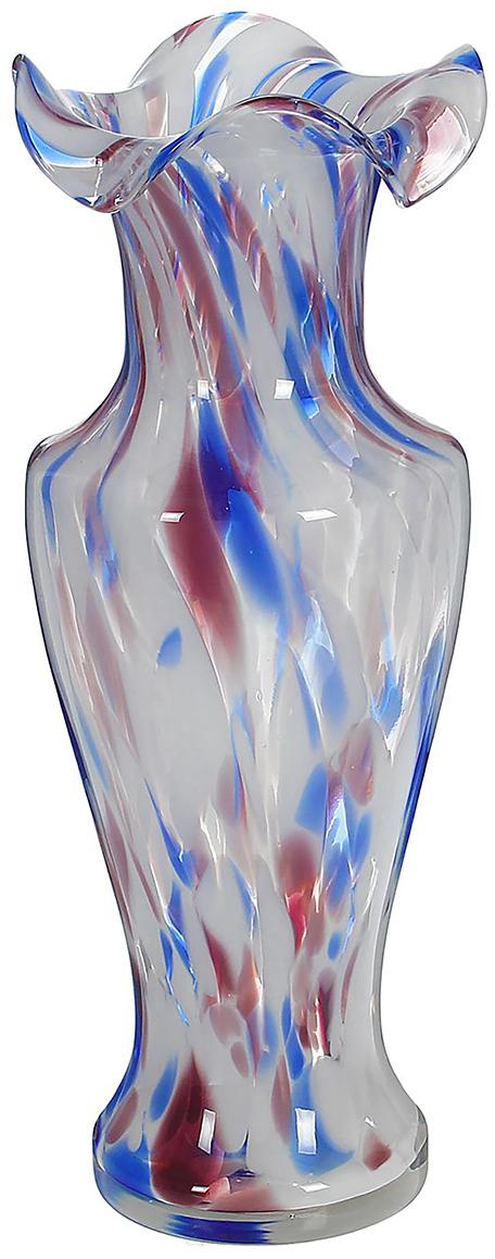 Ваза Античность, цвет: синий, 30 см. 10253001025300Ваза - не просто сосуд для букета, а украшение убранства. Поставьте в неё цветы или декоративные веточки, и эффектный интерьерный акцент готов! Стеклянный аксессуар добавит помещению лёгкости. Ваза Античность бело-сине-марганцевая преобразит пространство и как самостоятельный элемент декора. Наполните интерьер уютом! Каждая ваза выдувается мастером. Второй точно такой же не встретить. А случайный пузырёк воздуха или застывшая стеклянная капелька на горлышке лишь подчёркивают её уникальность.