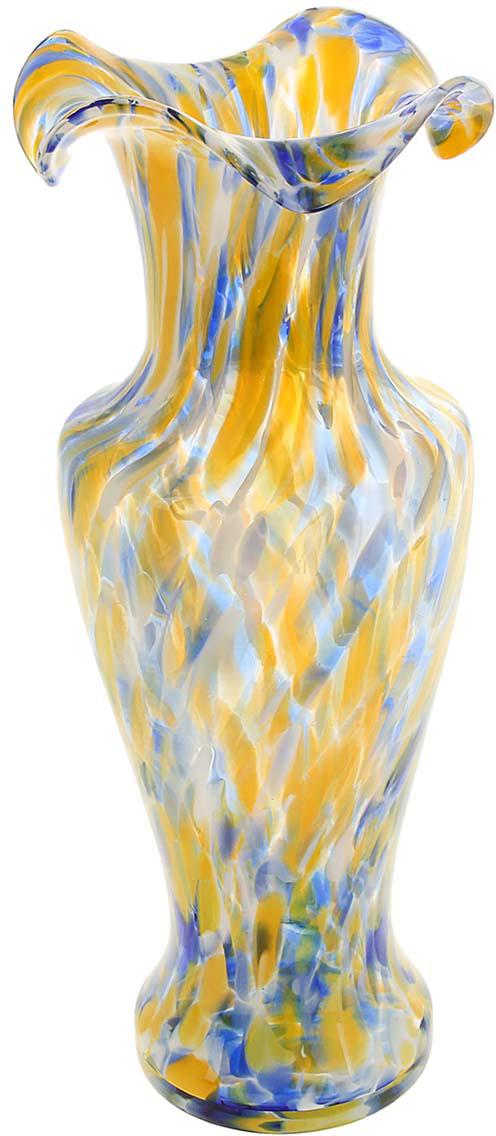 Ваза Античность, цвет: желтый, 30 см. 10253011025301Ваза - не просто сосуд для букета, а украшение убранства. Поставьте в неё цветы или декоративные веточки, и эффектный интерьерный акцент готов! Стеклянный аксессуар добавит помещению лёгкости. Ваза Античность сине-жёлтая преобразит пространство и как самостоятельный элемент декора. Наполните интерьер уютом! Каждая ваза выдувается мастером. Второй точно такой же не встретить. А случайный пузырёк воздуха или застывшая стеклянная капелька на горлышке лишь подчёркивают её уникальность.