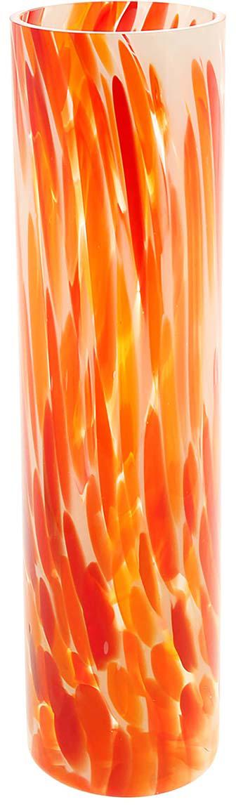 """Ваза - не просто сосуд для букета, а украшение убранства. Поставьте в неё цветы или  декоративные веточки, и эффектный интерьерный акцент готов! Стеклянный аксессуар добавит  помещению лёгкости.  Ваза """"Цилиндр"""" красная преобразит пространство и как самостоятельный элемент декора.  Наполните интерьер уютом!  Каждая ваза выдувается мастером. Второй точно такой же не встретить. А случайный пузырёк  воздуха или застывшая стеклянная капелька на горлышке лишь подчёркивают её уникальность."""