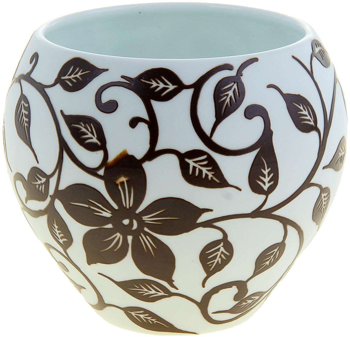 Ваза Узор Флора, цвет: коричневый, 11,5 см. 10446471044647Вьетнамские мастера создали прекрасную вазу с узором Флора из высокопрочной керамики. Искусные ремесленники самостоятельно заготавливали смесь, форму, сушили, обжигали, а затем расписывали её особым «природным ажуром». Ваза Узор Флора шоколад - истинное произведение искусства, которое достойно даже самого трепетного ценителя керамического искусства. Представьте, как изысканно эта красавица будет смотреться в интерьере любой комнаты, привлекая взгляды и улыбки восхищения. Преподнесите её даме на 8 Марта, День рождения или любой другой праздник.
