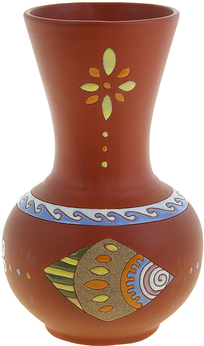 Ваза Кувшин, цвет: коричневый, 26 см1044653Прекрасная Ваза Кувшин выполнена вручную из глины вьетнамскими мастерами-ремесленниками. Они создавали её в несколько этапов, придерживаясь традиций своих предков. Глина – экологически чистый материал, именно это и подкупает. Ведь её можно использовать не только как украшение, но и в быту. Взгляните на этот прекрасный орнамент. Лаконичность и элегантность – то, чего так часто не достает практически в каждом интерьере дома или офиса. Тогда пусть такой волшебный сосуд заполнит эту пустоту и обогатит комнату необычайным теплом и уютом.