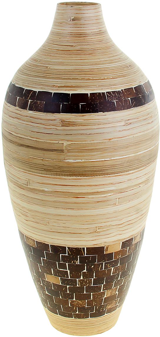 Ваза Квадро, цвет: бежевый, 56 см. 10448091044809Невероятной красоты Ваза Квадро, 56 см выполнена вручную искусными ремесленниками экзотического Вьетнама. Поражает то, как автор совмещает материалы: сама ваза выполнена из натурального бамбука и инкрустирована частичками кокосового ореха. Прекрасное изделие, которое будет не только оригинальным предметом интерьера, но и настоящей гордостью для ценителя азиатской культуры. Преподнесите её молодожёнам на пятилетнюю годовщину свадьбы, а также даме на 8 Марта или День рождения. Пусть частичка загадочной страны украсит Ваш интерьер! Не желательно в вазу наливать воду, так как она плохо переносит сырость из-за отсутствия лака на внутренних стенках. Отлично подойдет в качестве украшения дома или офиса, а также под декоративные цветы.