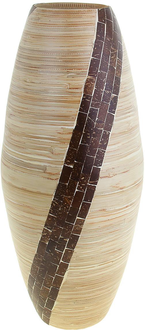Ваза Квадро, цвет: бежевый, 56 см. 10448131044813Невероятной красоты Ваза Квадро, 56 см выполнена вручную искусными ремесленниками экзотического Вьетнама. Поражает то, как автор совмещает материалы: сама ваза выполнена из натурального бамбука и инкрустирована частичками кокосового ореха. Прекрасное изделие, которое будет не только оригинальным предметом интерьера, но и настоящей гордостью для ценителя азиатской культуры. Преподнесите её молодожёнам на пятилетнюю годовщину свадьбы, а также даме на 8 Марта или День рождения. Пусть частичка загадочной страны украсит Ваш интерьер! Не желательно в вазу наливать воду, так как она плохо переносит сырость из-за отсутствия лака на внутренних стенках. Отлично подойдет в качестве украшения дома или офиса, а также под декоративные цветы.