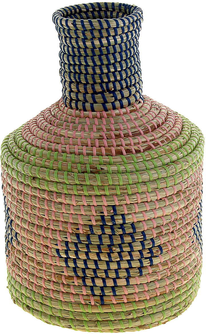 Ваза плетеная Куен, цвет: розовый, 33 см1047881Это не просто ваза – это настоящее произведение искусства. Вьетнамские ремесленники долго и кропотливо, стежок за стежком, плели эту невероятную экзотическую вазу из настоящих морских водорослей. Вы только взгляните: ровный рисунок, чёткие линии, приятные тона - чувствуется опытная рука мастера. Пусть эта роскошная Ваза плетеная Куен станет приятным подарком ценителю плетёных изделий, коллекционеру экзотических аксессуаров или даме с завидным вкусом. Разместите её в комнате на самом видном месте, создайте композицию с декоративными ветками, сухоцветами, чтобы привнести ощущение легкости, изящества и тепла. Ведь известно, что уют проявляется в деталях. Так как ваза плетёная в неё нельзя наливать воду или любую другую жидкость.