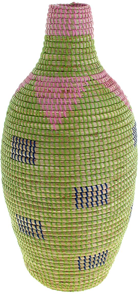 Ваза плетеная Линь, цвет: зеленый, 55 см1047887Это не просто ваза – это настоящее произведение искусства. Вьетнамские ремесленники долго и кропотливо, стежок за стежком, плели эту невероятную экзотическую вазу из настоящих морских водорослей. Вы только взгляните: ровный рисунок, чёткие линии, приятные тона - чувствуется опытная рука мастера. Пусть эта роскошная Ваза плетеная Линь станет приятным подарком ценителю плетёных изделий, коллекционеру экзотических аксессуаров или даме с завидным вкусом. Разместите её в комнате на самом видном месте, создайте композицию с декоративными ветками, сухоцветами, чтобы привнести ощущение легкости, изящества и тепла. Ведь известно, что уют проявляется в деталях. Так как ваза плетёная в неё нельзя наливать воду или любую другую жидкость.