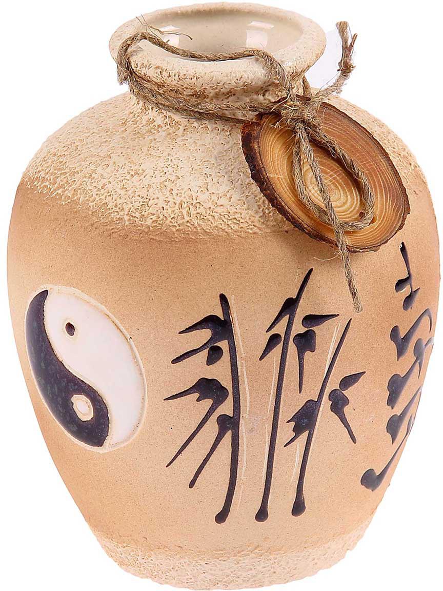 Ваза Керамика ручной работы Шар, цвет: бежевый