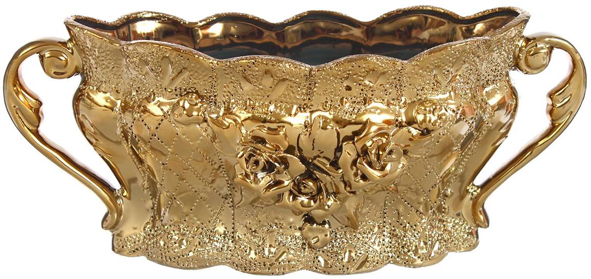 Конфетница Керамика ручной работы Ладья, цвет: золотой. 11306431130643Ваза для конфет украсит любую квартиру, дачу или офис. Преподнести её в качестве подарка друзьям или близким – отличная идея. Необычный дизайн и расцветка может вписаться в любой интерьер и стать его уникальным акцентом. Вещь предназначена для подачи конфет, сухофруктов или восточных сладостей.