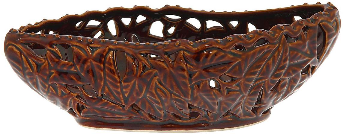 Конфетница Керамика ручной работы Ладья, цвет: коричневый. 1143552