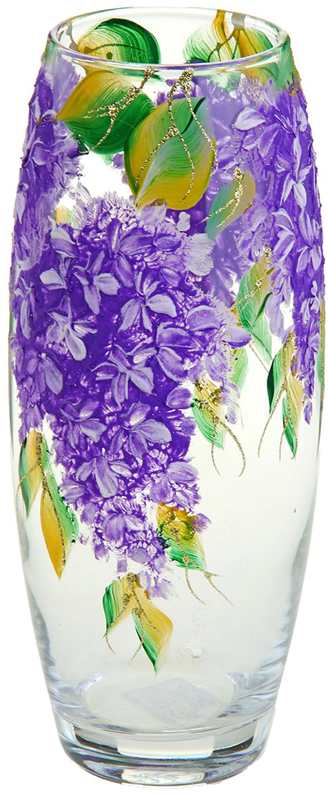 Ваза Цветы сирени, 25 см1144798Ваза - не просто сосуд для букета, а украшение убранства. Поставьте в неё цветы или декоративные веточки, и эффектный интерьерный акцент готов! Стеклянный аксессуар добавит помещению лёгкости.Ваза Цветы сирени, овальная преобразит пространство и как самостоятельный элемент декора. Наполните интерьер уютом!Каждая ваза выдувается мастером. Второй точно такой же не встретить. А случайный пузырёк воздуха или застывшая стеклянная капелька на горлышке лишь подчёркивают её уникальность.