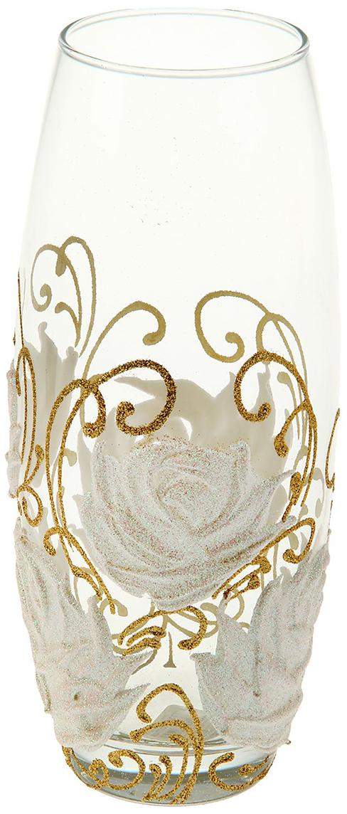 Ваза Белые розы, 25 см интерьер и декор