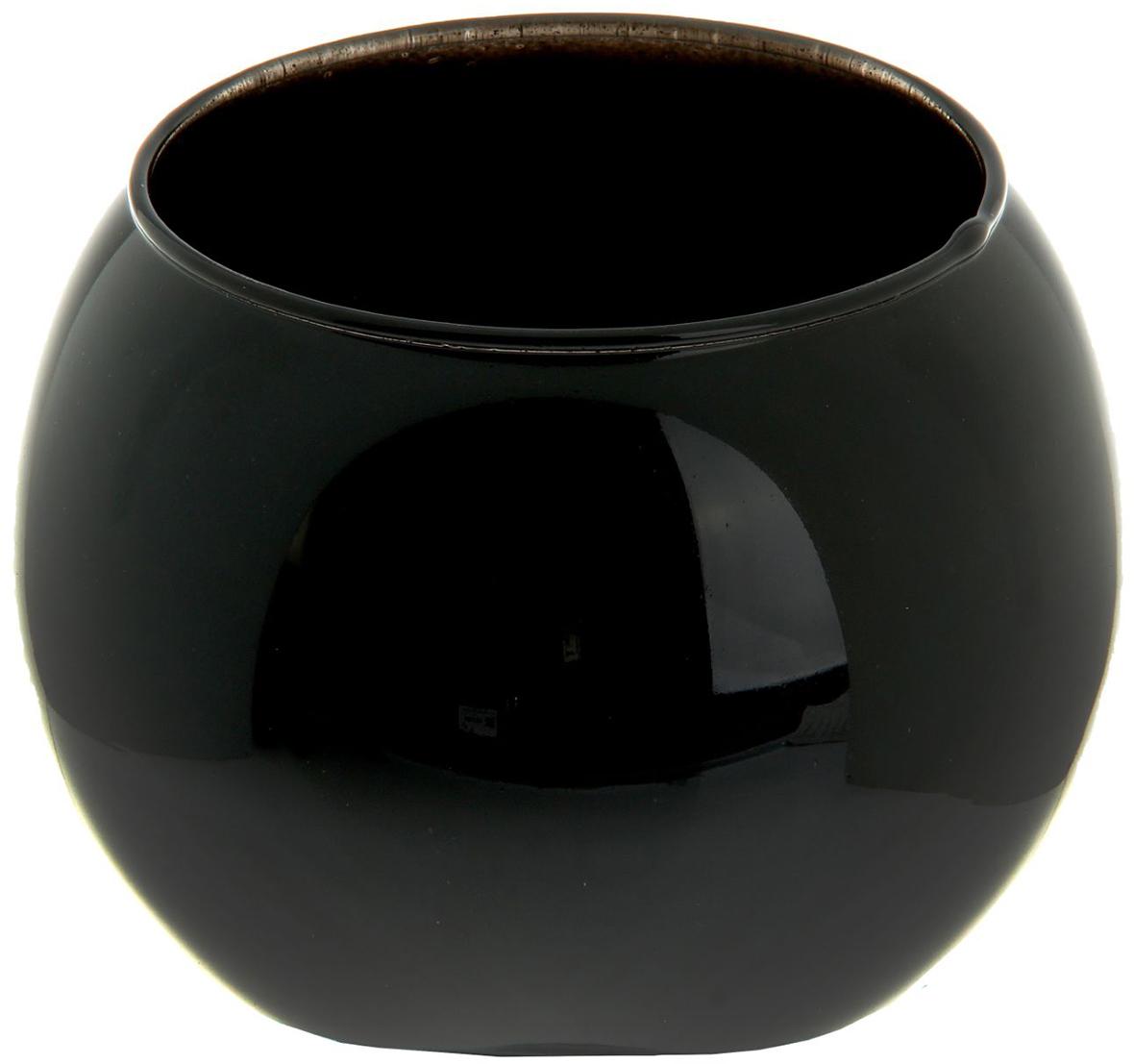 Ваза-шар Evis Пять вечеров, цвет: черный, 1 л1169874Ваза - не просто сосуд для букета, а украшение убранства. Поставьте в неё цветы или декоративные веточки, и эффектный интерьерный акцент готов! Стеклянный аксессуар добавит помещению лёгкости.Ваза-шар Пять вечеров чёрная, 1 л преобразит пространство и как самостоятельный элемент декора. Наполните интерьер уютом!Каждая ваза выдувается мастером. Второй точно такой же не встретить. А случайный пузырёк воздуха или застывшая стеклянная капелька на горлышке лишь подчёркивают её уникальность.
