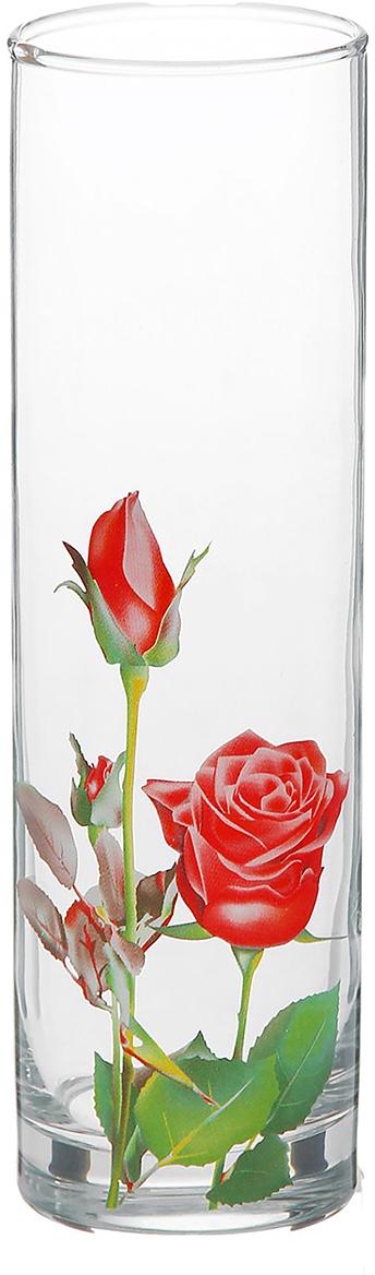 Ваза Decor Style Glass Роза красная, 26,5 см1188628Ваза - не просто сосуд для букета, а украшение убранства. Поставьте в неё цветы или декоративные веточки, и эффектный интерьерный акцент готов! Стеклянный аксессуар добавит помещению лёгкости. Ваза Роза красная преобразит пространство и как самостоятельный элемент декора. Наполните интерьер уютом! Каждая ваза выдувается мастером. Второй точно такой же не встретить. А случайный пузырёк воздуха или застывшая стеклянная капелька на горлышке лишь подчёркивают её уникальность.