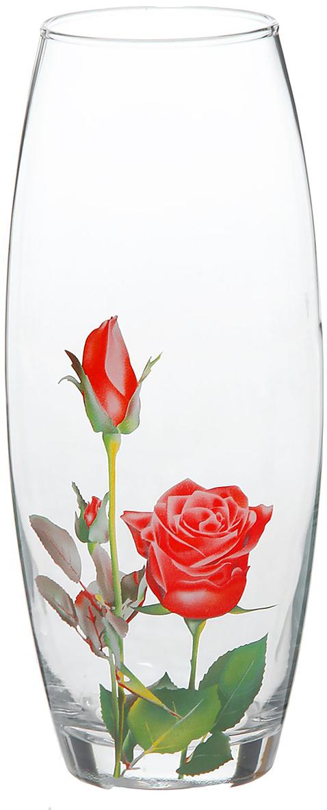 Ваза Decor Style Glass Флора, красная роза, 26,5 см1188636Ваза - не просто сосуд для букета, а украшение убранства. Поставьте в неё цветы или декоративные веточки, и эффектный интерьерный акцент готов! Стеклянный аксессуар добавит помещению лёгкости. Ваза Флора, красная роза преобразит пространство и как самостоятельный элемент декора. Наполните интерьер уютом! Каждая ваза выдувается мастером. Второй точно такой же не встретить. А случайный пузырёк воздуха или застывшая стеклянная капелька на горлышке лишь подчёркивают её уникальность.