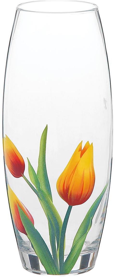 Ваза Decor Style Glass Флора, тюльпан, 26,5 см1188637Ваза - не просто сосуд для букета, а украшение убранства. Поставьте в неё цветы или декоративные веточки, и эффектный интерьерный акцент готов! Стеклянный аксессуар добавит помещению лёгкости. Ваза Флора, тюльпан преобразит пространство и как самостоятельный элемент декора. Наполните интерьер уютом! Каждая ваза выдувается мастером. Второй точно такой же не встретить. А случайный пузырёк воздуха или застывшая стеклянная капелька на горлышке лишь подчёркивают её уникальность.