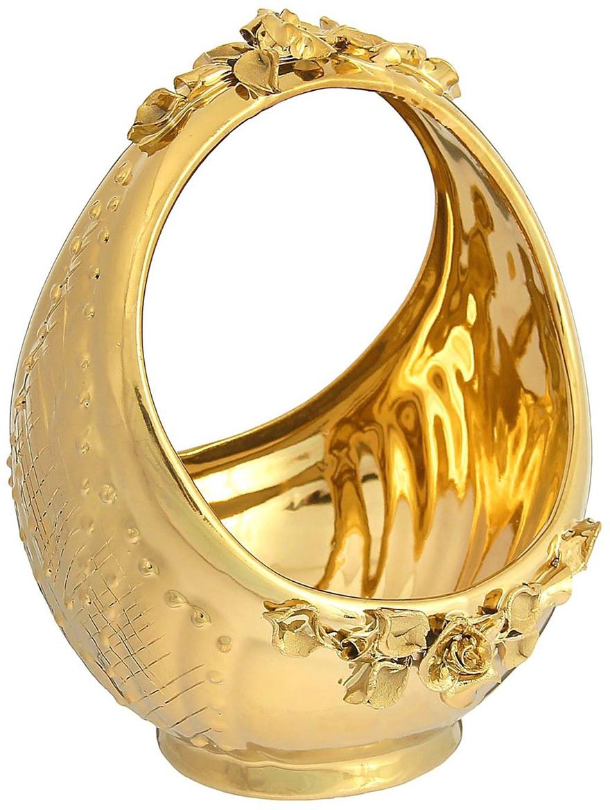 Конфетница Керамика ручной работы Корзина, цвет: золотой, большая1235135Ваза для конфет украсит любую квартиру, дачу или офис. Преподнести её в качестве подарка друзьям или близким – отличная идея. Необычный дизайн и расцветка может вписаться в любой интерьер и стать его уникальным акцентом. Вещь предназначена для подачи конфет, сухофруктов или восточных сладостей.