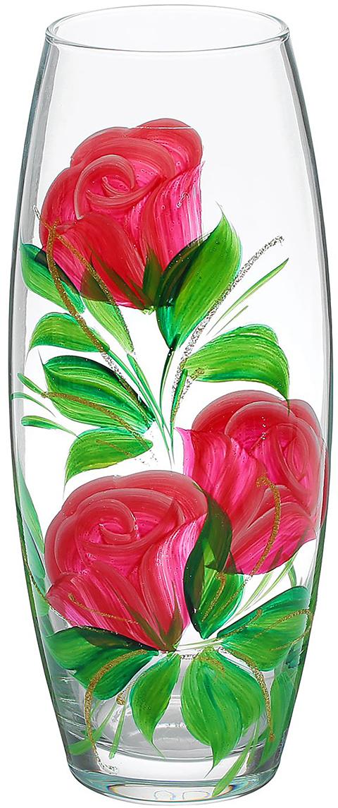 Ваза Розовые розы, 26 см1253997Ваза - не просто сосуд для букета, а украшение убранства. Поставьте в неё цветы или декоративные веточки, и эффектный интерьерный акцент готов! Стеклянный аксессуар добавит помещению лёгкости. Ваза Розовые розы преобразит пространство и как самостоятельный элемент декора. Наполните интерьер уютом! Каждая ваза выдувается мастером. Второй точно такой же не встретить. А случайный пузырёк воздуха или застывшая стеклянная капелька на горлышке лишь подчёркивают её уникальность.