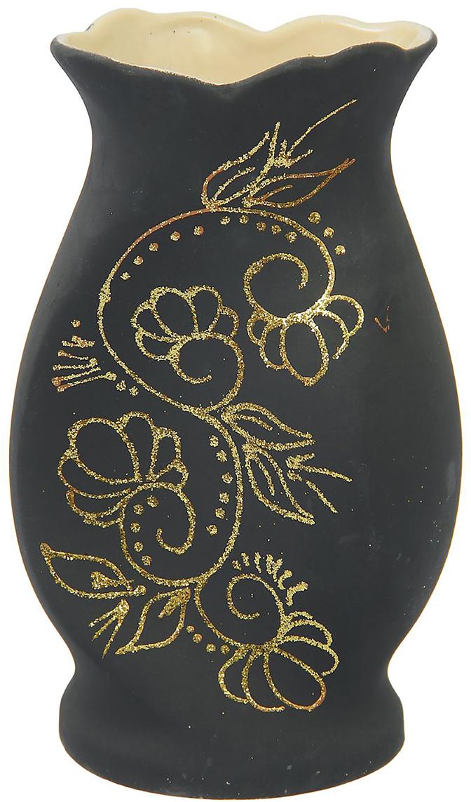 Ваза Керамика ручной работы Тайна, цвет: черный, средняя. 1283747 искусство воротник мода простое белое керамических вазы ваза ячеистая ваза украшение фиолетовое сердце ваза