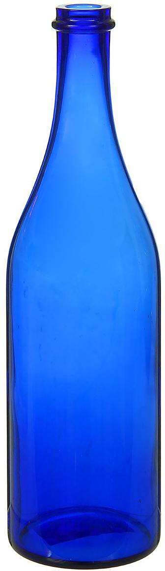 Ваза Бутыль, цвет: синий, 1 л. 12982201298220Ваза - не просто сосуд для букета, а украшение убранства. Поставьте в неё цветы или декоративные веточки, и эффектный интерьерный акцент готов! Стеклянный аксессуар добавит помещению лёгкости. Ваза Бутыль синяя, 1 л преобразит пространство и как самостоятельный элемент декора. Наполните интерьер уютом! Каждая ваза выдувается мастером. Второй точно такой же не встретить. А случайный пузырёк воздуха или застывшая стеклянная капелька на горлышке лишь подчёркивают её уникальность.