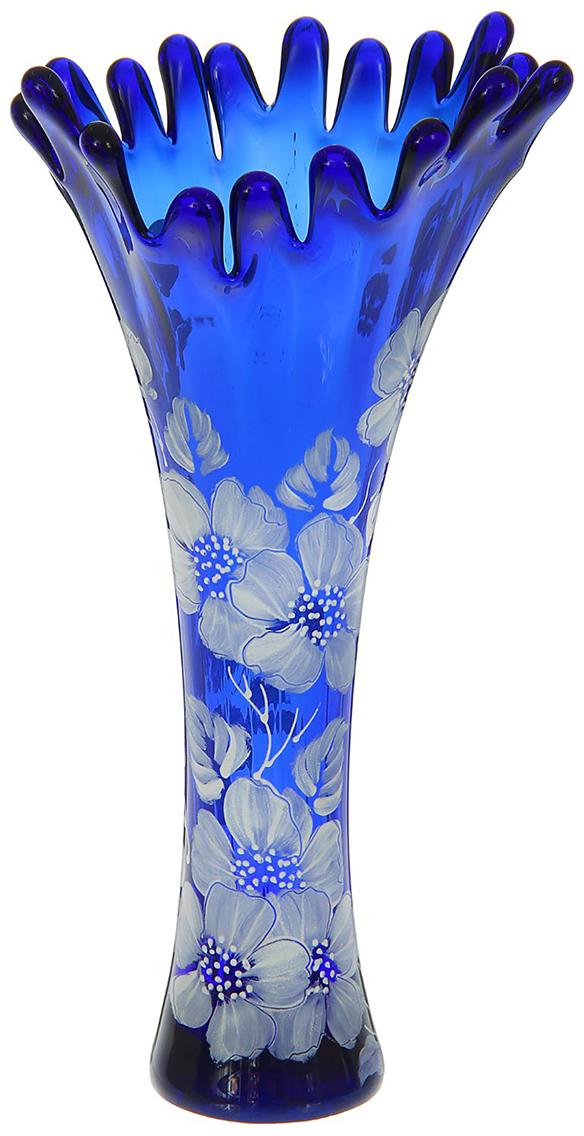 Ваза Коралл, цвет: синий, 38 см. 1298225 ваза коралл цвет оранжевый 38 см